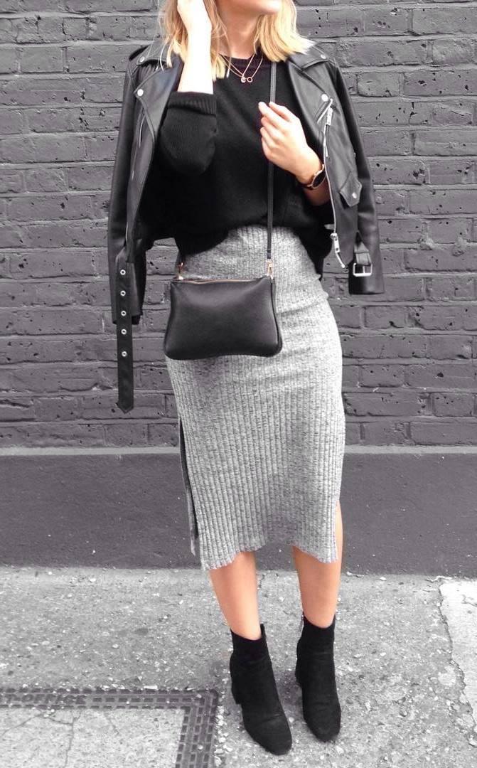 street style perfection / grey midi skirt : boots + bag + black jacket + sweater