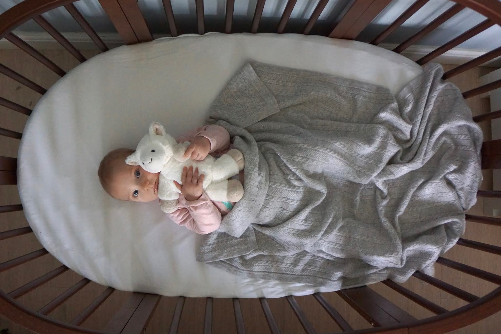 baby in a cot with cashmere blanket