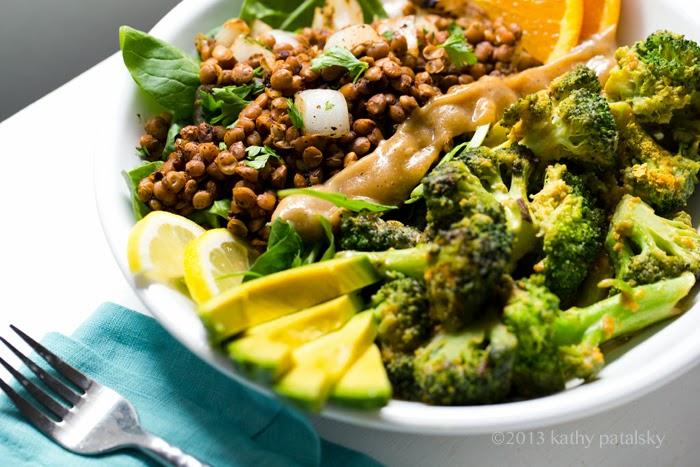 Savory Miso Broccoli + Spiced Lentil Power Plate! Vegan Fast Food