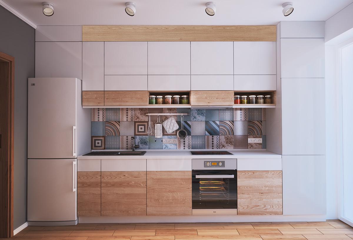 purple small stuio apartment kitchenette