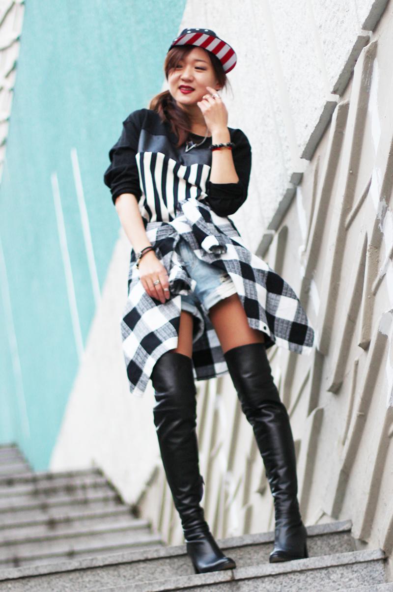 стиль гранж, идеалогия стиля гранж, корея, фешн блоггер, смешения принтов, смешение рисунков, аксессуары из кореи, grunge, zoyaslookbook, high boots, ботфорты, с чем носить ботфорты, высокие сапоги