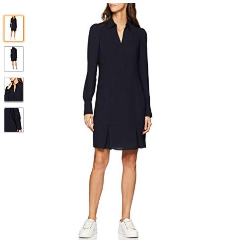 Robe femme noire élégante et décontractée- Taille 36,38,40,42,44- Robe hiver manches longues, couleur noire