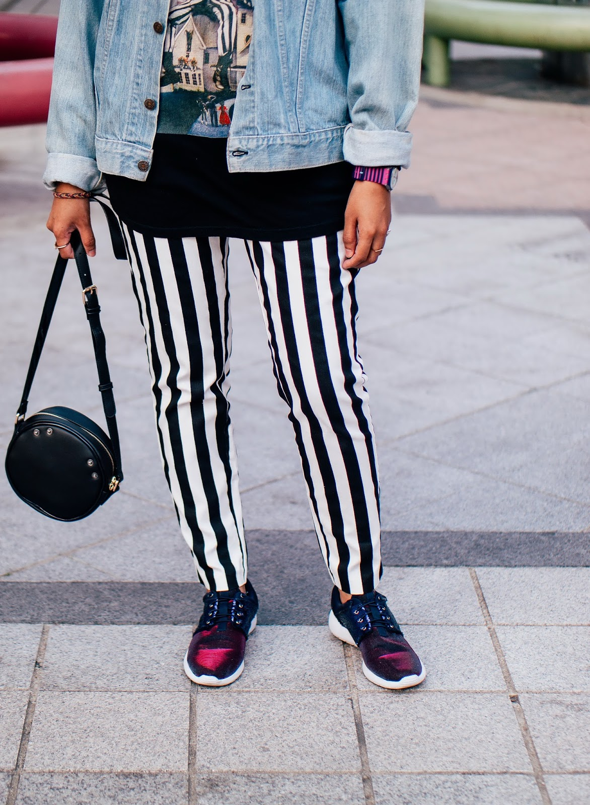 Striped black and white pants like Beetlejuice
