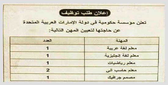 وظائف دولة الامارات للمعلمين لمختلف التخصصات - التقديم على الانترنت