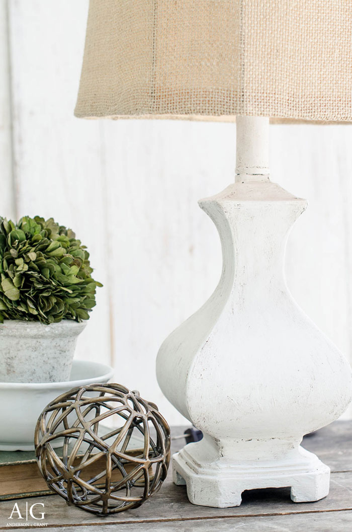Transform a dated lamp with joint compound and paint to turn it into a stylish rustic farmhouse light.  Find the DIY tutorial at www.andersonandgrant.com