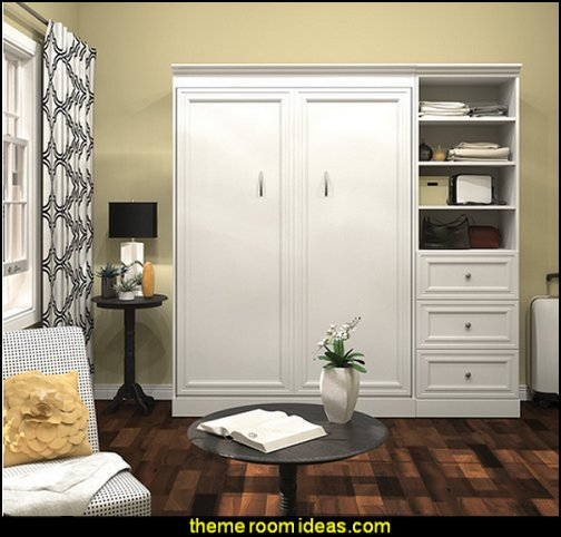 White Full Wall Bed Kit storage solutions
