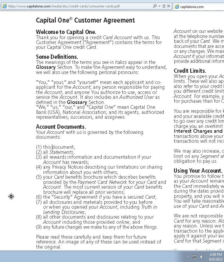 Consumer Debt Litigation (mostly Texas): Capital One Credit