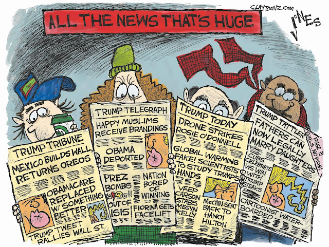 Title:   All the News that's Huge.  Image:  A bunch of clowns looking at newspapers that are all Trump all the time.