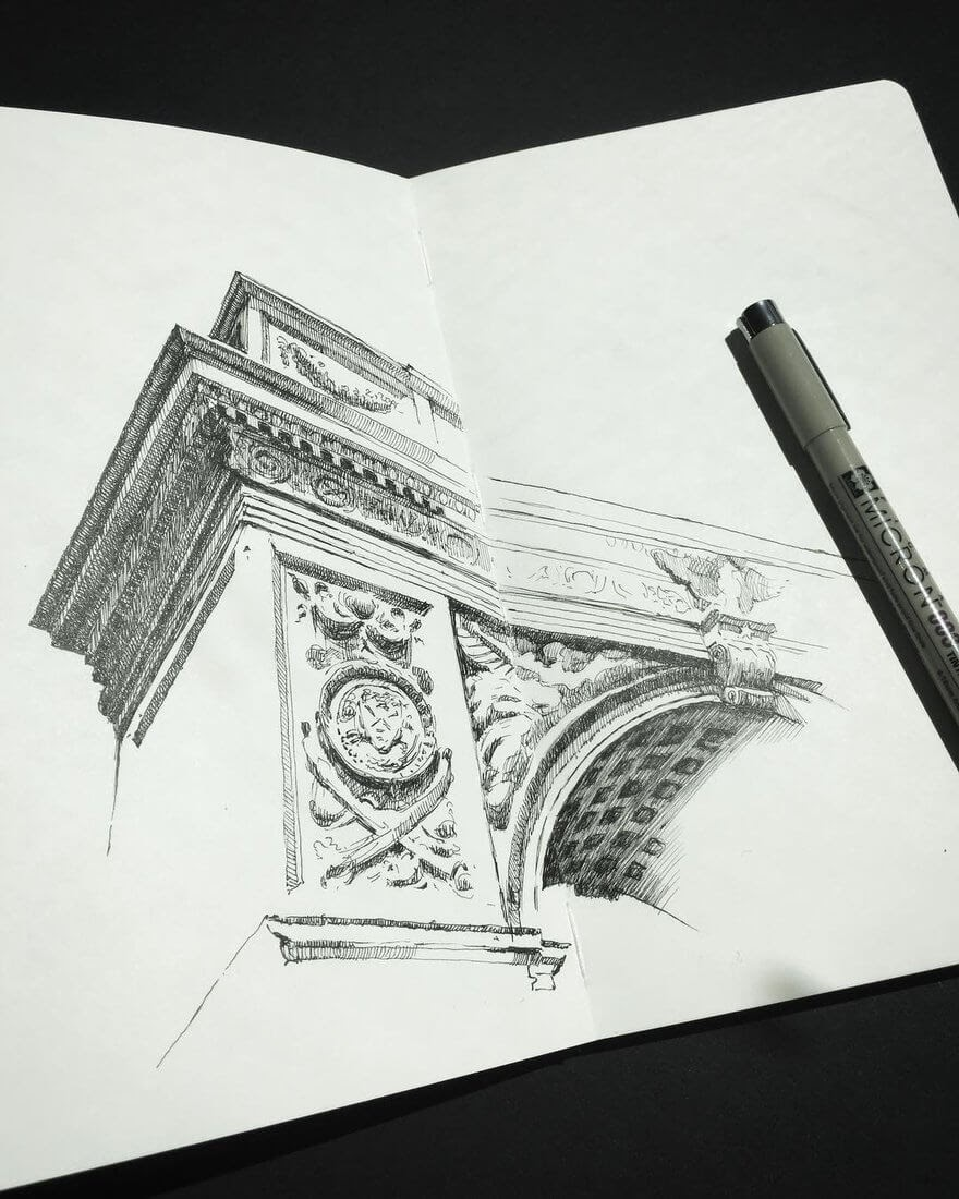 13-New-York-Mark-Poulier-Urban-Sketches-Drawn-on-Site-www-designstack-co