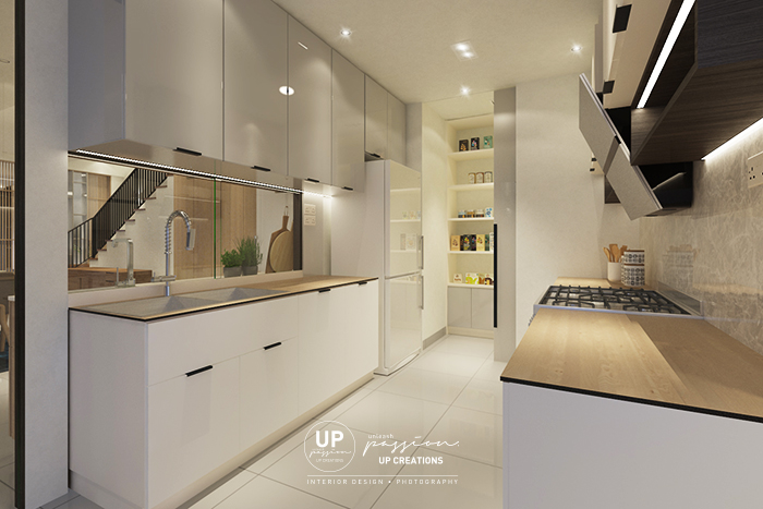 kalista superlink wet kitchen in full white color cabinet and kompactplus wood texture table top and pantry