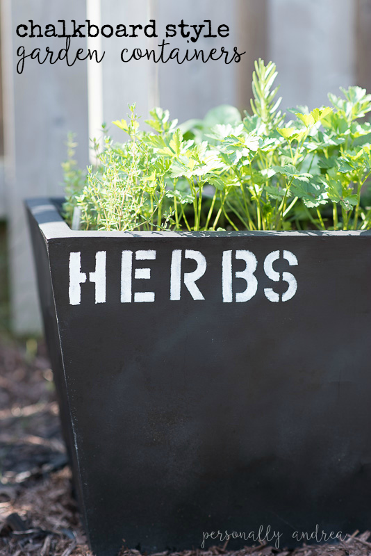 Chalkboard Style Garden Containers With some paint and some alphabet stencils you can give your garden containers this fun industrial look and add character to your garden space | personallyandrea.com