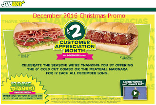 Subway coupons december 2016