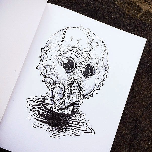 25-Swamp Creature-Alex-Solis-Baby-Terrors-Drawings-Horror-Movie-Villains-www-designstack-co