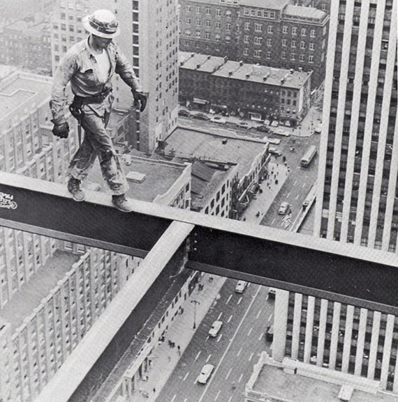 Steel Worker on Socony Mobil Building 1955  vintage everyday