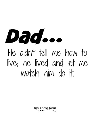 Dad...He didn't tell me how to live; he lived and let me watch him do it.