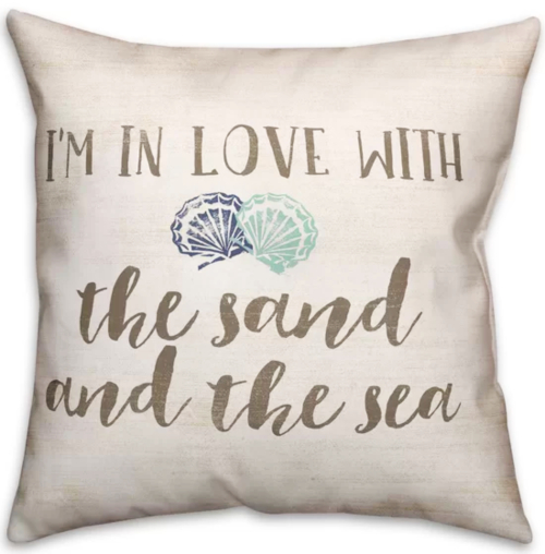 Love Sand and Sea Beach Quote Pillow