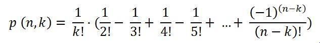 p(n,k) = 1/k!·(1/2!-1/3!+1/4!-...+((-1)^(n-k))/(n-k)!)