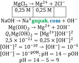pH campuran MgCl2 dan NaOH