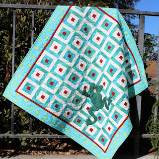 FROG QUILT-HAPPY QUILT-BABY QUILT-GREEN-QUILT FOR SALE
