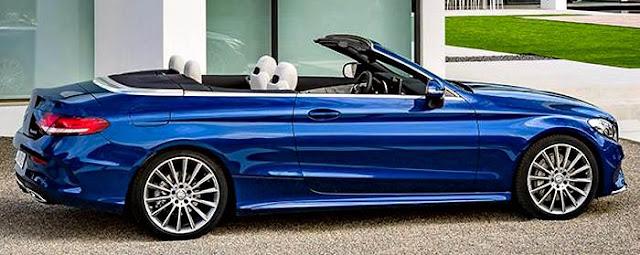 Mercedes-Benz C200 Cabrio 2017 lado derecho azul rey