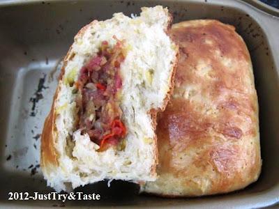 Obsesi Roti 16: Roti Kukus Ubi Jalar  Isi Corned Beef