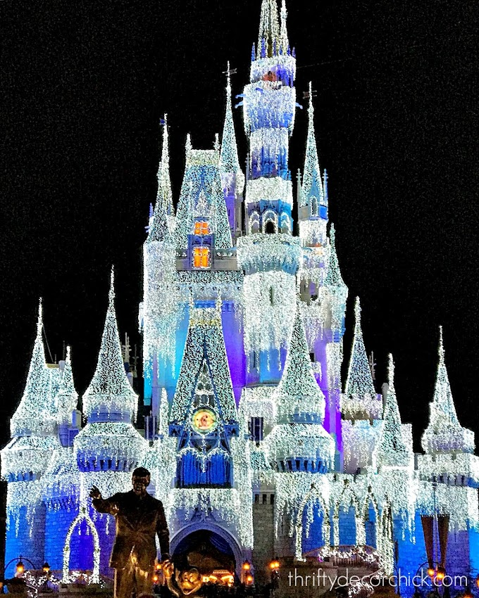 Disney castle at Christmas