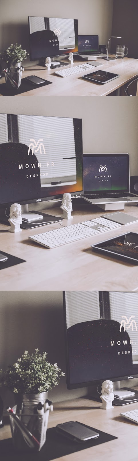 Download Free Mockup PSD 2018 - Free Devices (Dell monitor + Macbook + iPad) Mockup Templates