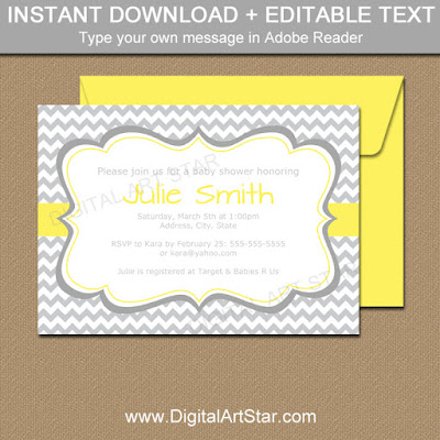 printable yellow and gray baby shower invitation template for a gender neutral baby shower