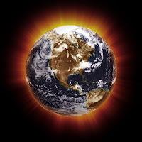 Küresel ısınmayı anlatan ısı ışınları yayan bir dünya resmi
