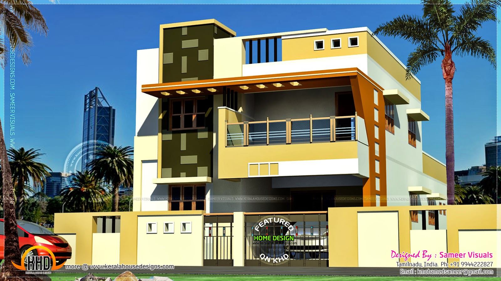 Modern south indian house design kerala home design and for Home outer colour design