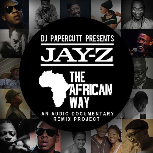 DJ Papercutt Jay Z Audio Dokumentation Mixtape Cover mit Jay Z und afrikanischen Musikstars als Portrait