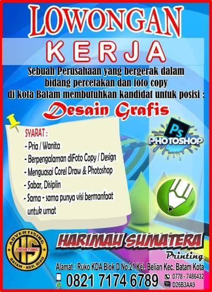 Lowongan Kerja CV. Harimau Sumatera Digital Printing