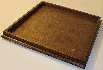 36 X Dark Walnut Bevel Edge Ottoman Tray