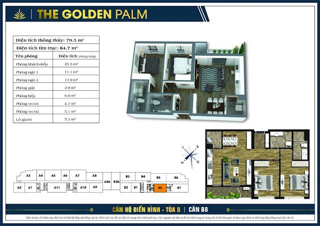 Mặt bằng căn B8 The Golden Palm