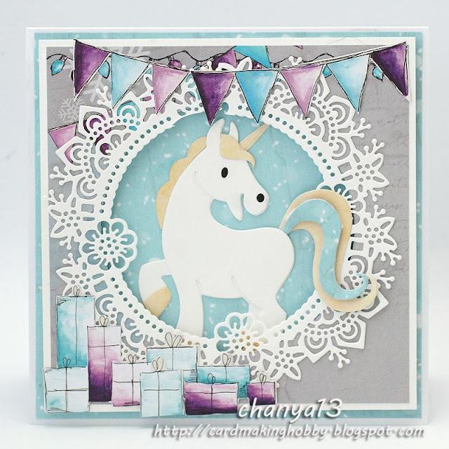 kartka urodzinowa z jednorożcem