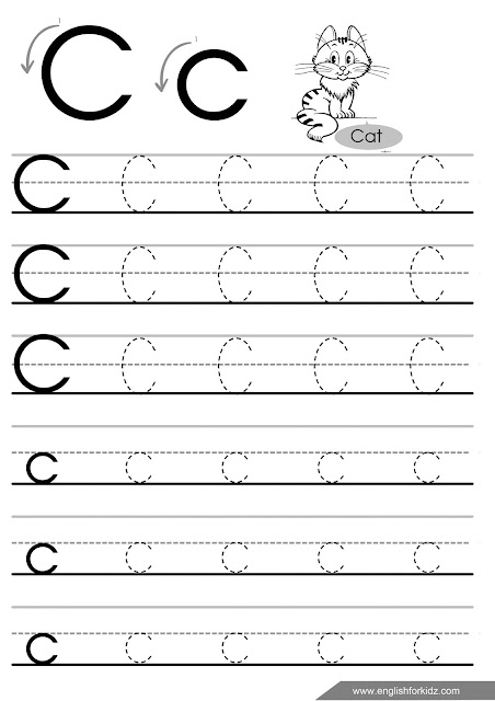 Letter c tracing worksheet for ESL teachers