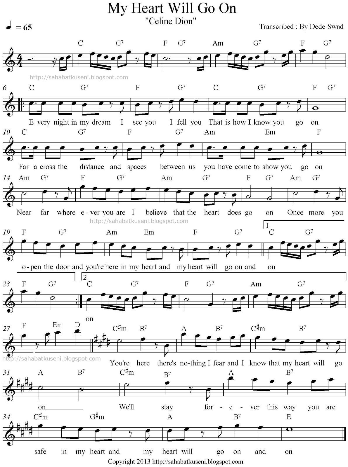 not balok lagu my heart will go on