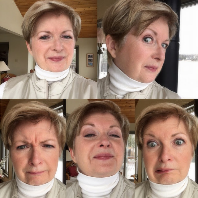 five shots of women in cream turtleneck and vest making several faces.