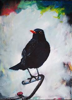 blackbird, kunst, art, maleri, painting, solsort, galleri, noget til væggen, glade farver, klokke, ringklokke