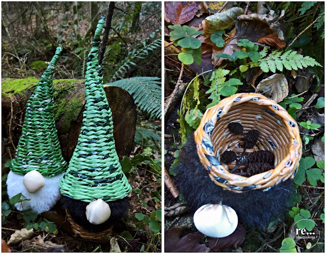 gnome, christmas, forest, Christmas decoration, wicker paper, paper weaving, fabric recycle, papierowa wiklina Boże Narodzenie