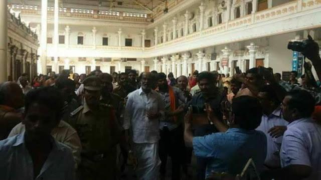Superstar Rajinikanth visits Mantralayam Raghavendra Swamy Temple