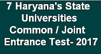 7 Haryana State Universities Common/ Joint Entrance Exam for PG Admissions