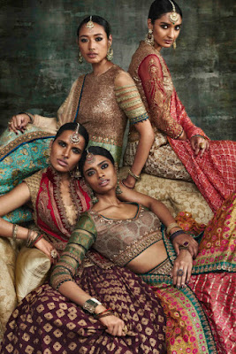 Beautiful Dark Indian Models In Bridal Dress.