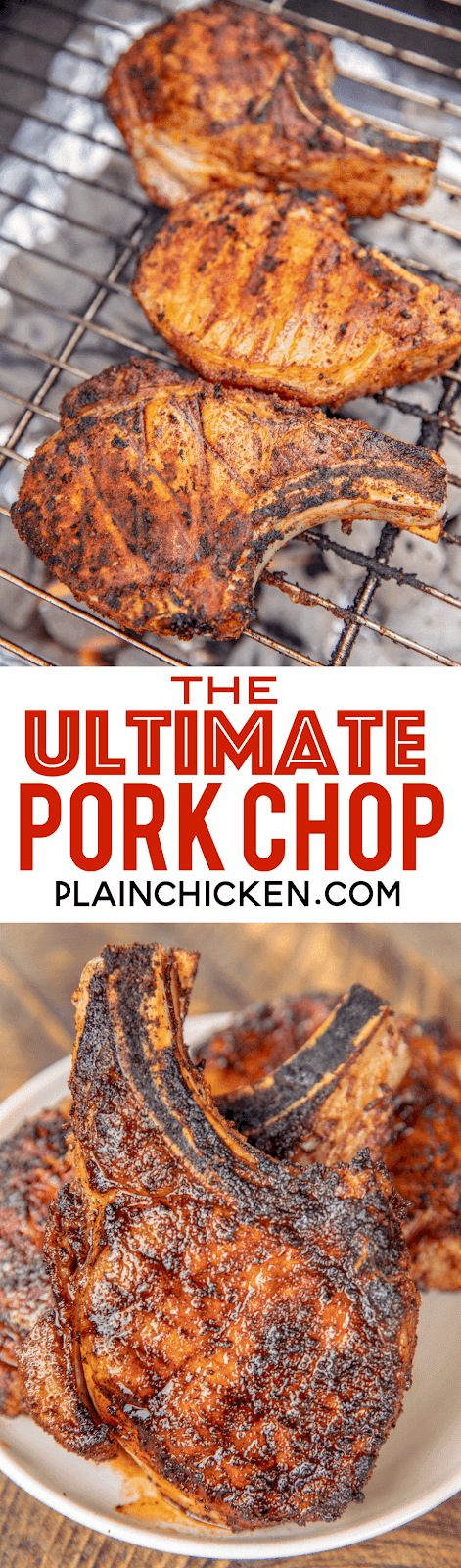 The Ultimate Pork Chops - so tender and juicy. You can cut them with a butter knife!!! Pork chops brined overnight in water, sugar and salt. Rub in a mixture of paprika, garlic powder, onion powder, cumin, dry mustard, pepper and chili powder. Seriously THE BEST!!! Everyone RAVES about these delicious grilled pork chops! #grill #grilling #pork #porkchops