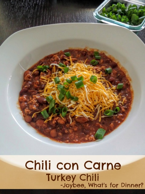 Chili con Carne:  A chili made with any kind of meat, beans, and chili pepper sauce.