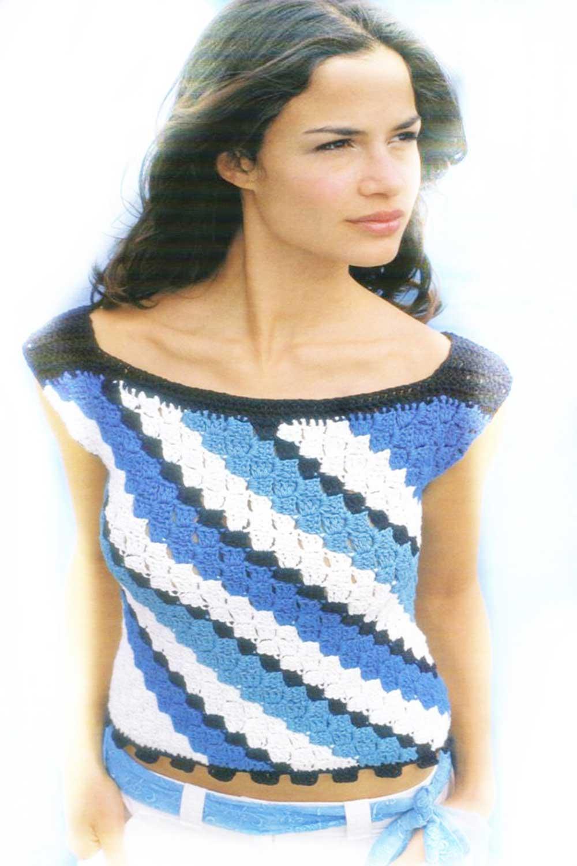 top, diagonal, motivos, crochet, ganchillo, patron