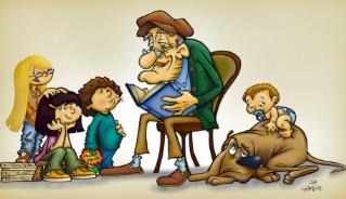 Abuelo contando cuentos