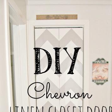 DIY Chevron Linen Closet Door