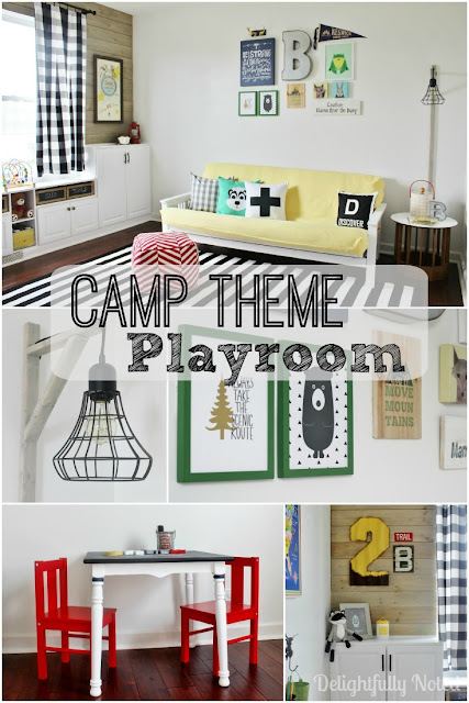 "Fun Kid's Camp Theme Playroom With Wonderful Pops of Color! Includes Tons of DIY Projects and ""Before"" and ""Afters"" on How This Room Went From an Uninspiring No-Storage Office To a Cute Organized Playroom"