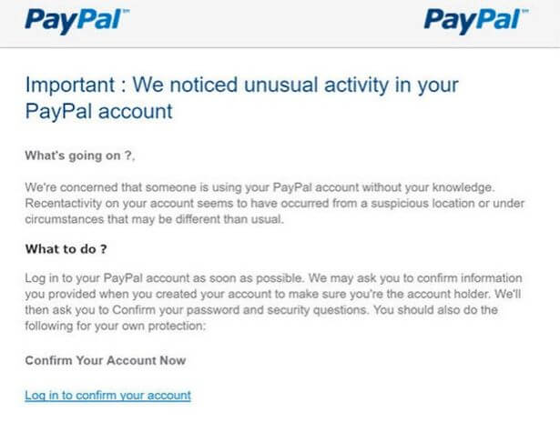 PayPal Phishing email example